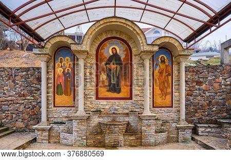 Fruska Gora, Vojvodina / Serbia - January 26, 2020: Water Tap With Frescoes At The Petkovica Monaste