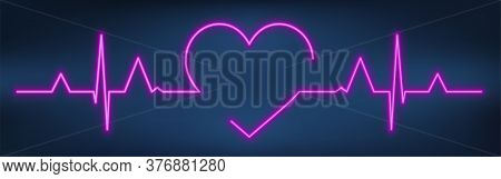 Neon Heart Beat With Heart Shape. Healthy Electrocardiogram Or Ecg. One Pulse Line. Glow Violet Heal