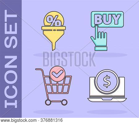 Set Laptop With Dollar, Lead Management, Shopping Cart With Check Mark And Buy Button Icon. Vector