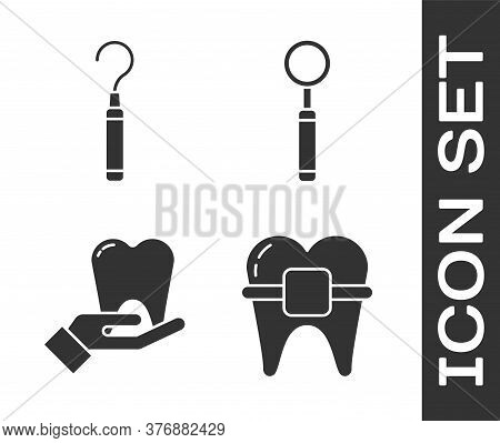 Set Teeth With Braces, Dental Explorer Scaler For Teeth, Tooth And Dental Inspection Mirror Icon. Ve