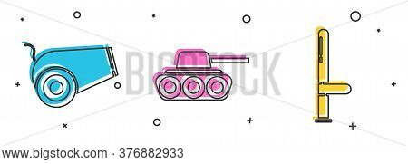 Set Cannon, Military Tank And Police Rubber Baton Icon. Vector