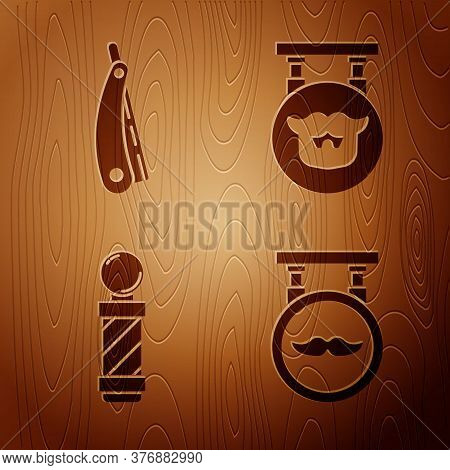 Set Barbershop, Straight Razor, Classic Barber Shop Pole And Barbershop On Wooden Background. Vector