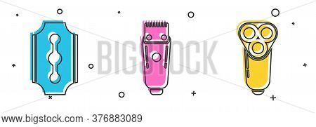 Set Blade Razor, Electrical Hair Clipper Or Shaver And Electric Razor Blade For Men Icon. Vector