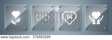 Set Heart On Hand, Heart, Heart Shaped Love Glasses And Heart Shape In A Flower. Square Glass Panels
