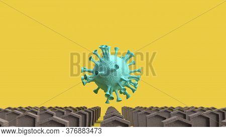 The Gravestone And Virus For Coronavirus Content 3d Rendering.