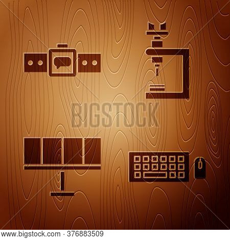 Set Keyboard And Mouse, Smartwatch, Solar Energy Panel And Microscope On Wooden Background. Vector