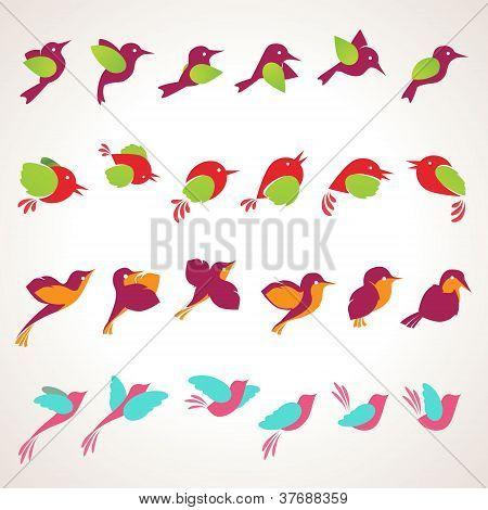 Set of vector birds icons