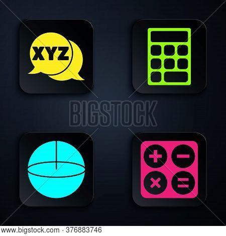 Set Calculator, Xyz Coordinate System, Geometric Figure Sphere And Calculator. Black Square Button.