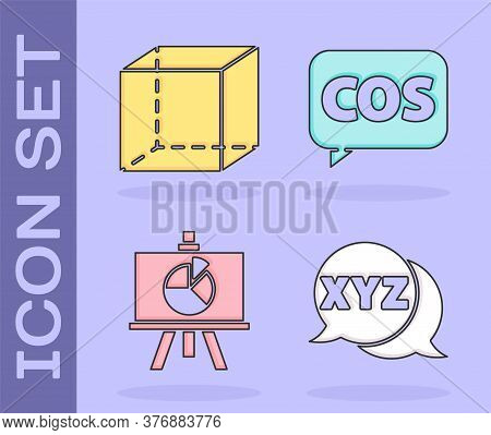 Set Xyz Coordinate System, Geometric Figure Cube, Chalkboard With Diagram And Mathematics Function C