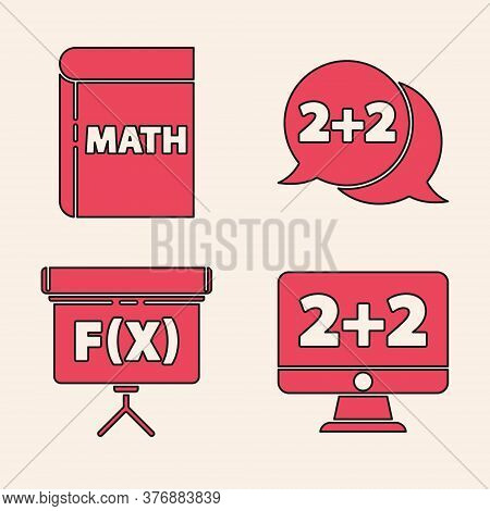 Set Equation Solution, Book With Word Mathematics, Equation Solution And Chalkboard Icon. Vector