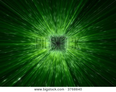 Fantasy Computer Generated Galactic Explosion With Green Rays