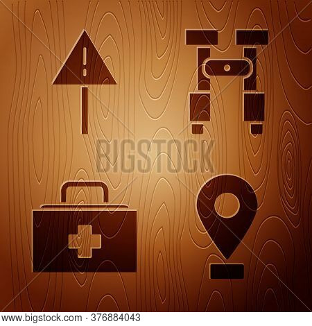 Set Location, Exclamation Mark In Triangle, First Aid Kit And Binoculars On Wooden Background. Vecto