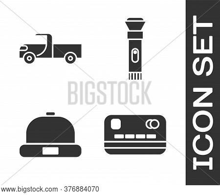 Set Credit Card, Pickup Truck, Beanie Hat And Flashlight Icon. Vector