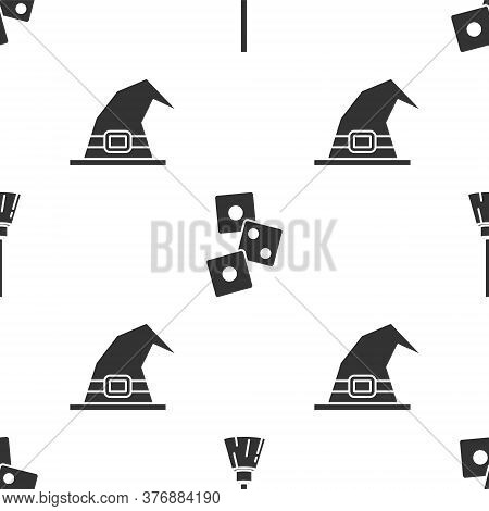 Set Witches Broom, Game Dice And Witch Hat On Seamless Pattern. Vector