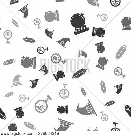 Set Magic Ball, Witch Hat, Magic Stone And Unicycle Or One Wheel Bicycle On Seamless Pattern. Vector