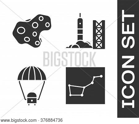 Set Great Bear Constellation, Asteroid, Space Capsule And Parachute And Rocket Launch From The Space