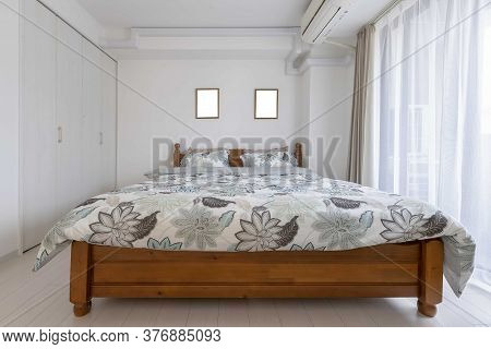 King Size Bed In Modern Small Bedroom At Apartment