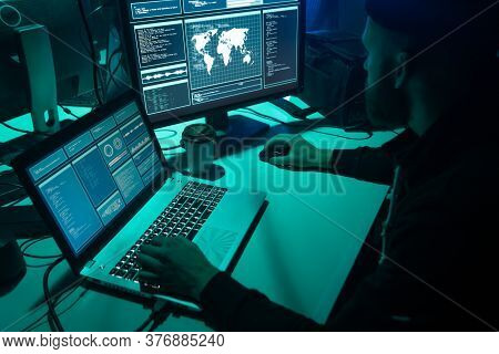 Hackers Breaking Server Using Multiple Computers And Infected Virus Ransomware. Cybercrime, Technolo