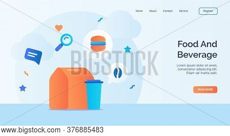 Food And Beverage Icon Campaign For Web Website Home Homepage Landing Template Banner With Cartoon F