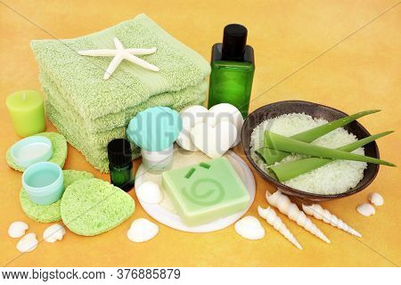 Natural skincare beauty treatment for anti ageing with aloe vera & ex foliation, moisturiser, aromatherapy &  cleansing products on yellow background.