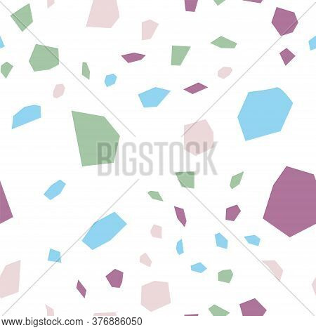 Blue And White Terrazzo Tile Vector Seamless Pattern. Granite Terrazzo Wall Backdrop. And Red Graphi