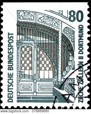 02 09 2020 Divnoe Stavropol Territory Russia The Postage Stamp Germany 1987 Sightseeing Main Entranc