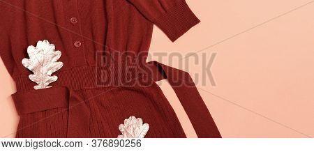 Fashion Sweater Terracotta Color, Cozy Autumn Female Clothing Decorated Oak Leaves On Pastel Pink Ba