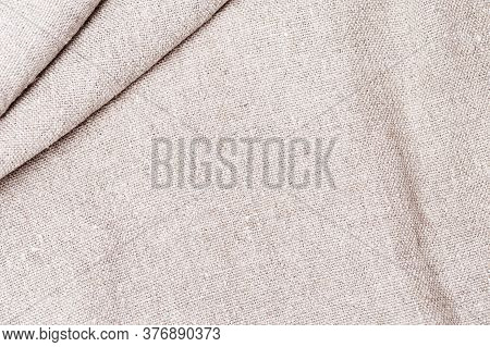 Sackcloth Backgrounfd. Natural Cotton Cloth Texture Close Up Of Coarse Fabric For Backdrop.