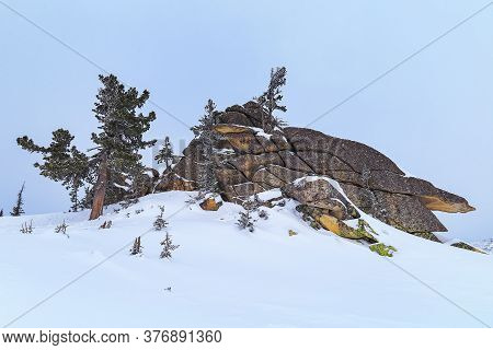 Big Stone Blocks On Top Of Mountain Utuya. Winter Landscape In Ski Resort Sheregesh. Russia, Altay M