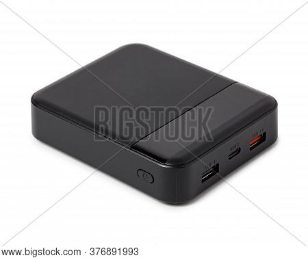 Power Bank Isolated On A White Background. External Battery For Charging Smartphone.