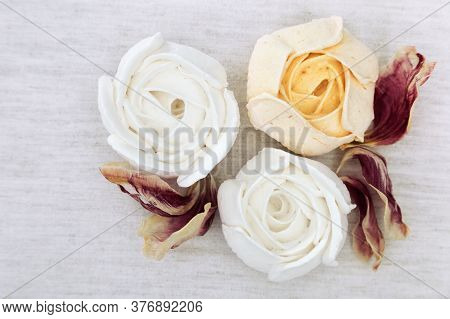 Beautifully Decorated Dessert. Berry Marshmallow Flowers In The Form Of Roses. Low Calorie Dessert.