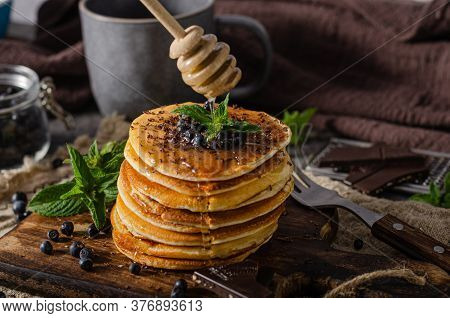 Vintage Pancakes With Berries