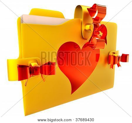 golden folder with red bow and heart