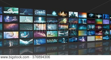 Multimedia Content Streaming and Digital Entertainment Video Concept 3d Render