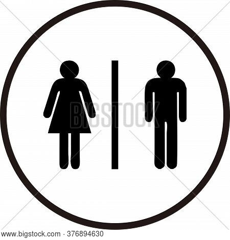 Restroom Sign Male And Female On Round Circle Black White Color
