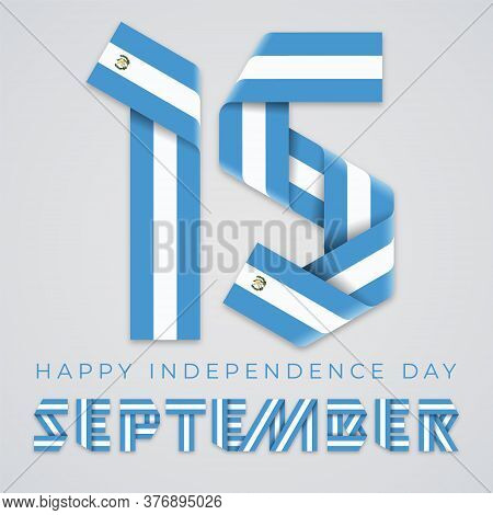 Congratulatory Design For September 15, Guatemala Independence Day. Text Made Of Bended Ribbons With