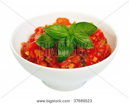 Tomato Delicious Roasted Spicy On White Dish