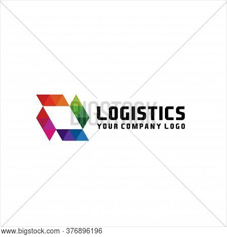 Logistics And Delivery, Around The Earth Rotates The Cardboard Box, Logo Template. Moving Box, Fast