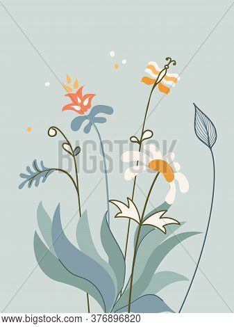 Vertical Arrangement Flowers And Butterfly In Scandinavian Style On White Background.