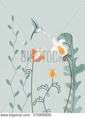 Vertical Arrangement Flowers And Bird In Scandinavian Style On White Background.