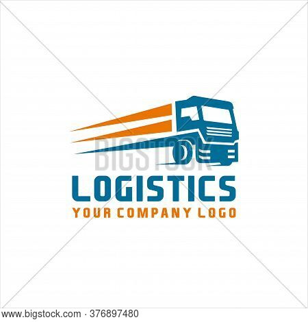 Logistic Truck Transport Logo, Logistics Or Delivery Service Label. Vector Logo Design Template.