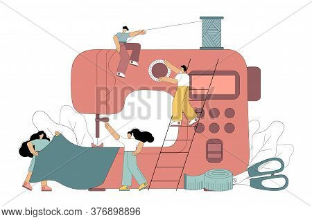 Clothing Design Tailoring Concept. Flat Men Create Clothes On A Sewing Machine. Vector Illustration