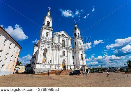 Vitebsk, Belarus - July 20, 2019 - Holy Spirits Women's Monastery Of The Vitebsk Diocese Against The