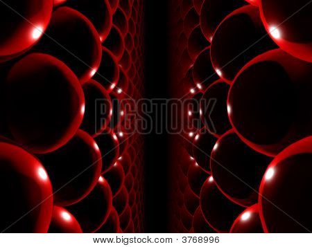 Fantasy Computer Generated Red Parallel Spheres