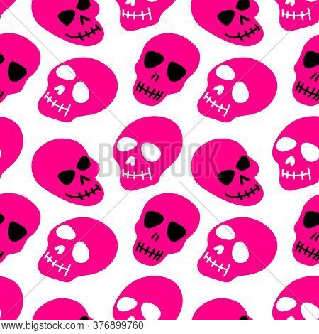 The Pattern Of The Skull. Pink Skulls On A White Background.vector Illustration Of A Skull. Bright A