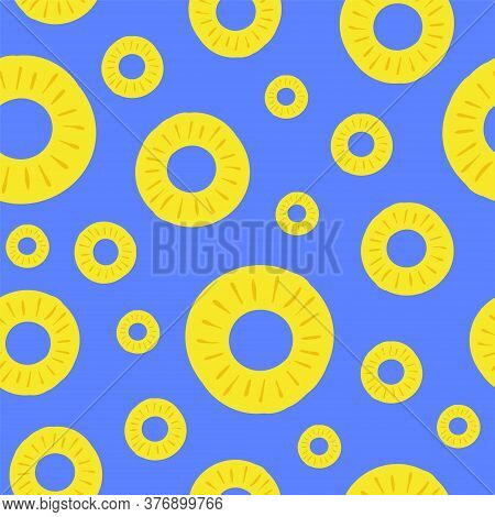 Pineapple Seamless Pattern. Vector Illustration. Colorful Slices Ananas On A Blue Background. For De
