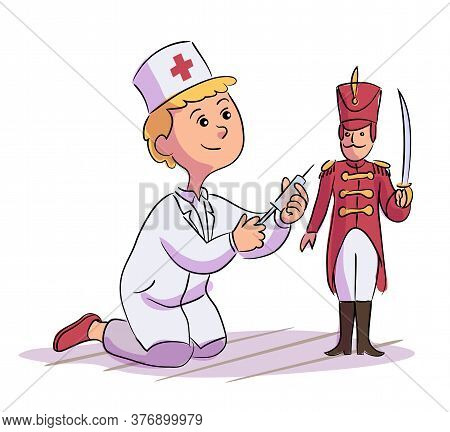 Little Cute Boy Doctor Character In White Coat Uniform Doing Injection To Toy Soldier. Kid With Syri
