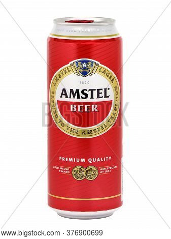 Bucharest, Romania - August 3, 2015. Can Of Amstel Beer. Amstel Brewery Is A Dutch Brewery Founded O