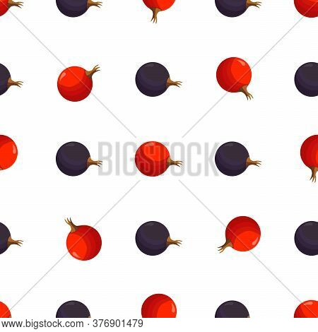 Illustration On Theme Big Colored Seamless Currant, Bright Berry Pattern For Seal. Berry Pattern Con