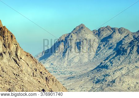 Beautiful Mountain Landscape, View From Mount Moses In Egypt On The Sinai Peninsula.